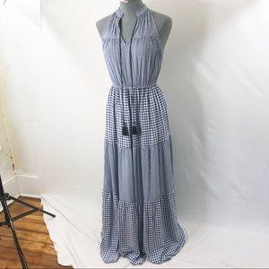 Lauren Conrad plaid maxi sun dress tassel tie S